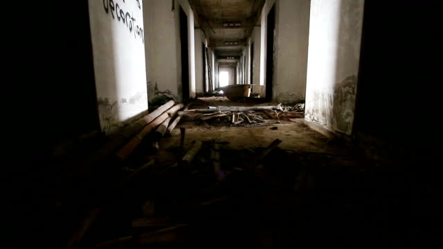Abandoned building rooms video
