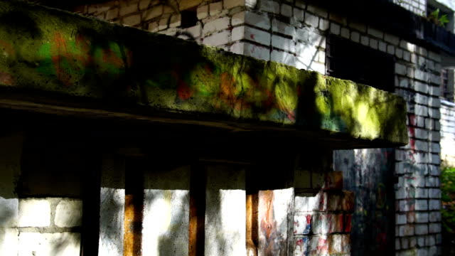 abandoned building structures house home factory warhouse. POV, horror background video