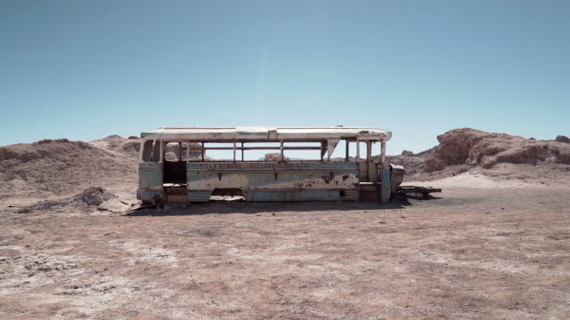 Abandoned bus in Atacama desert, South America, Chile Abandoned bus know as Magic Bus of Atacama or Valle Del Bus obsolete stock videos & royalty-free footage