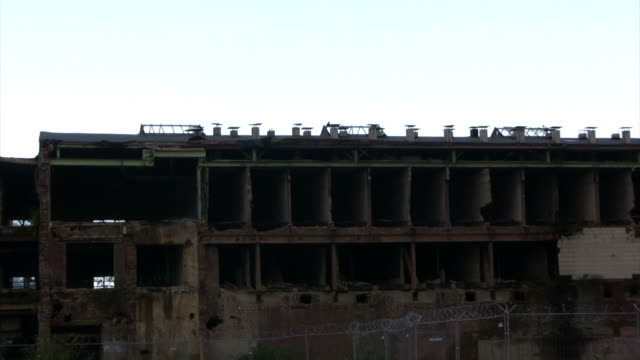 Abandoned factory building, zooming in, HD video