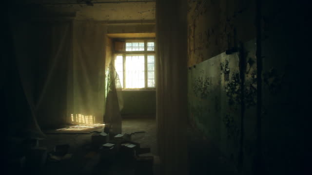 Abandoned house. Old room interior