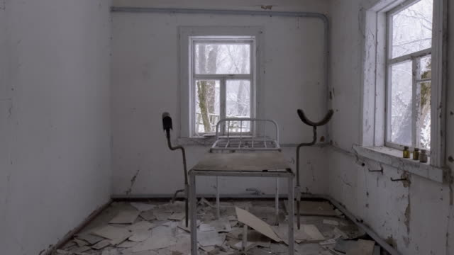 Abandoned medical stirrups in medical clinic, Pripyat City