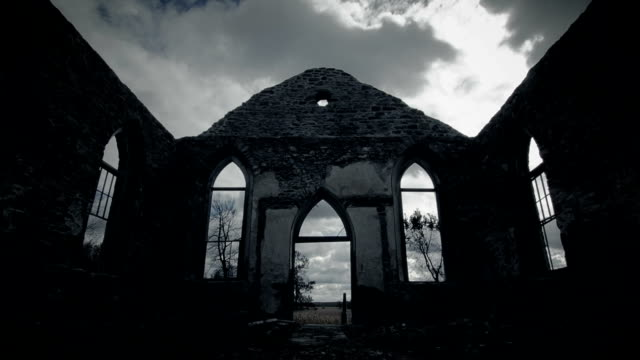 Abandoned Old Irish Church Ruins with no Roof and Clouds Time Lapse video