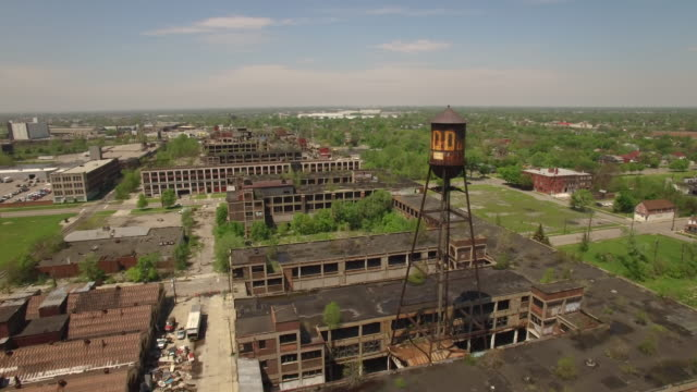 Abandoned Packard Plant Detroit Aerial video