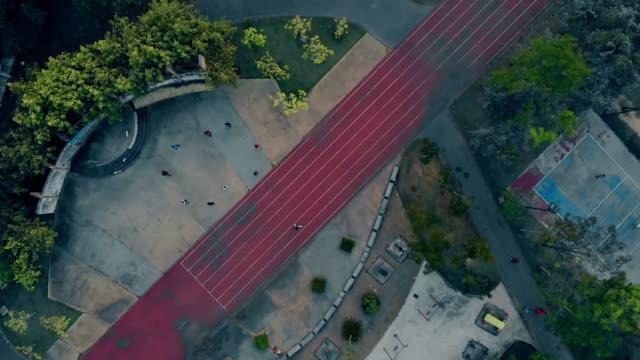 abandoned playground basketball platform and running track