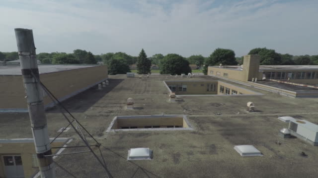 Abandoned School South Side Chicago Aerial video