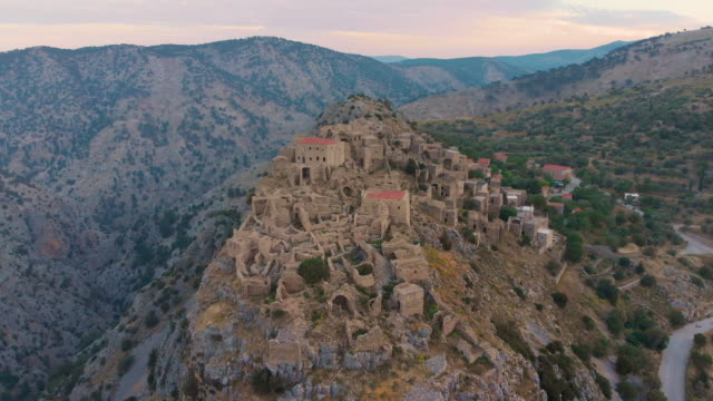 Abandoned Village Anavatos, Chios Island, Greece Aerial view of Old Ruins of Anavatos in early morning. greek islands stock videos & royalty-free footage