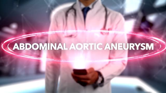 vídeos de stock e filmes b-roll de abdominal aortic aneurysm - male doctor with mobile phone opens and touches hologram illness word - aorta