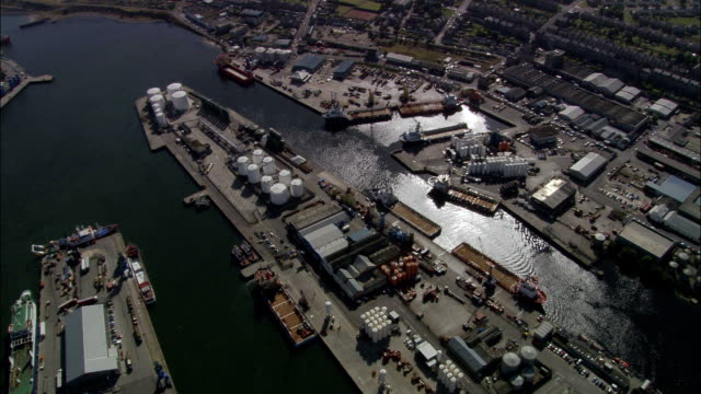 Aberdeen  - Aerial View - Scotland, Aberdeen City, United Kingdom Aberdeen and port with oil rig stuff scotland stock videos & royalty-free footage