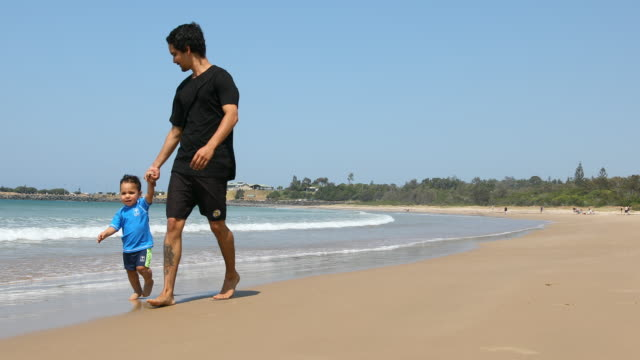 Aboriginal Australian Father and Son at the Beach video