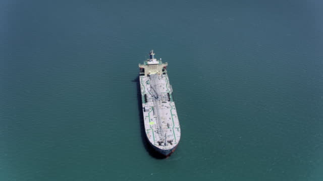 AERIAL Above a large ship at sea