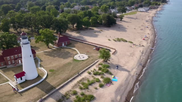 Above Aerial View Of The Lighthouse At Fort Gratiot In Port Huron, Lake Huron