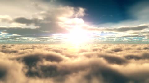 vídeos y material grabado en eventos de stock de por encima de las nubes al atardecer 4k - nube