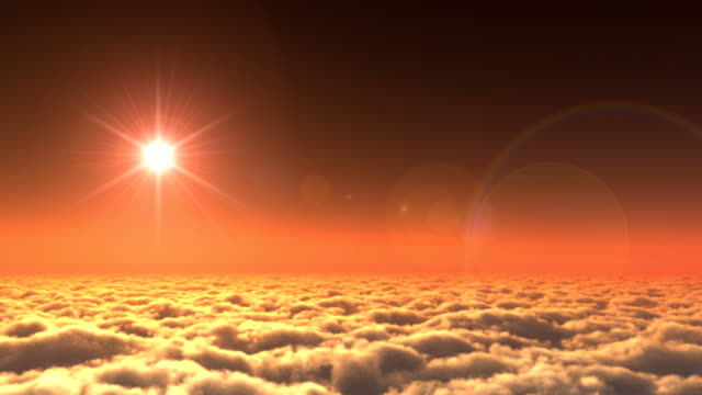 Above clouds Sunset,Godrays video