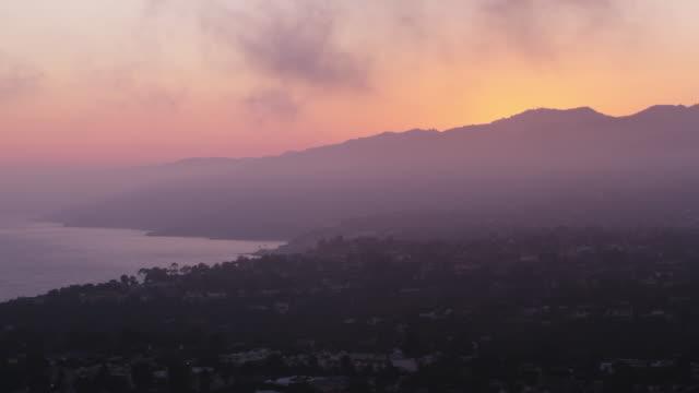 AERIAL Above Santa Monica at dusk