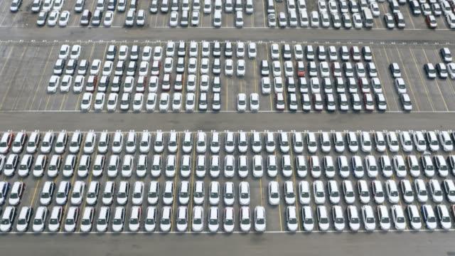 AERIAL Above the cars at a car terminal