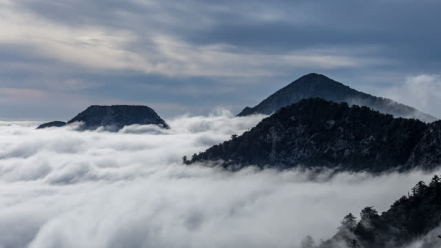 above the clouds and mountain from mount wilson, los angeles day timelapse - nebbia video stock e b–roll