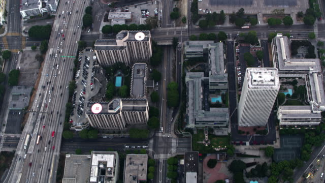 AERIAL Above The Westin Bonaventure Hotel and Suites in Downtown LA