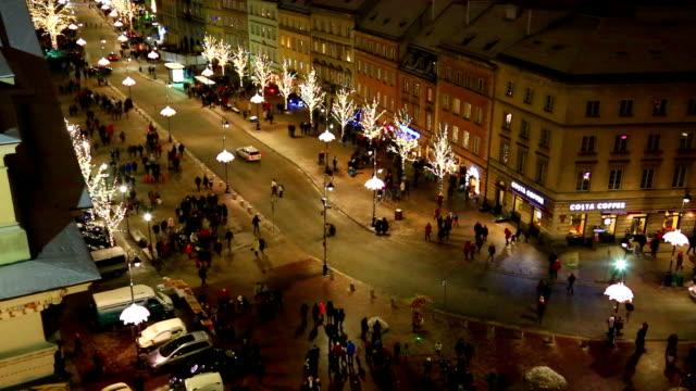 Above view at Krakowskie Przedmiescie, Warsaw video