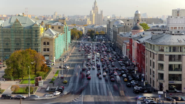 above view of Lubyanskaya and Novaya Square in Moscow timelapse in spring day video