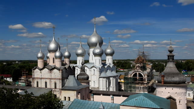 Above view on the churches of the Rostov Kremlin / Russia. Rostov video