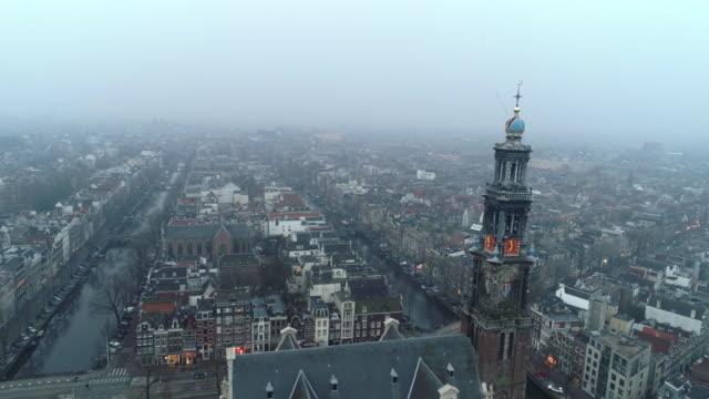 ovan visa westerkerk kyrka - drone amsterdam bildbanksvideor och videomaterial från bakom kulisserna