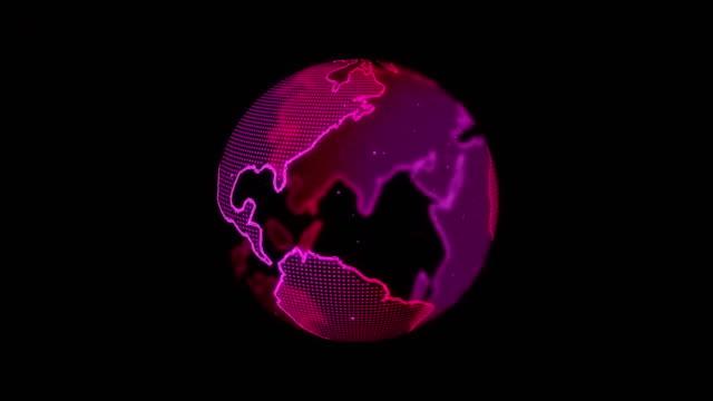 Abstarct Digital Spinning World Map Video