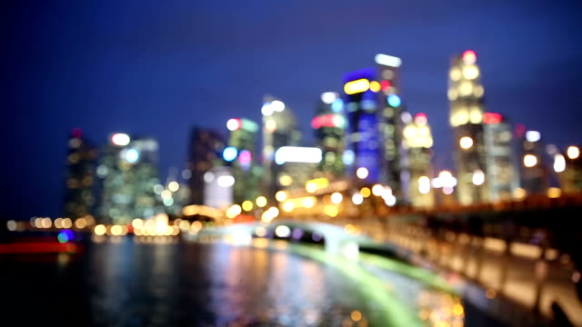 Abstracr blurred background: Singapore Cityscape Night HD Abstracr blurred background: Singapore Cityscape Night, 1920x1080 Format focus on foreground stock videos & royalty-free footage