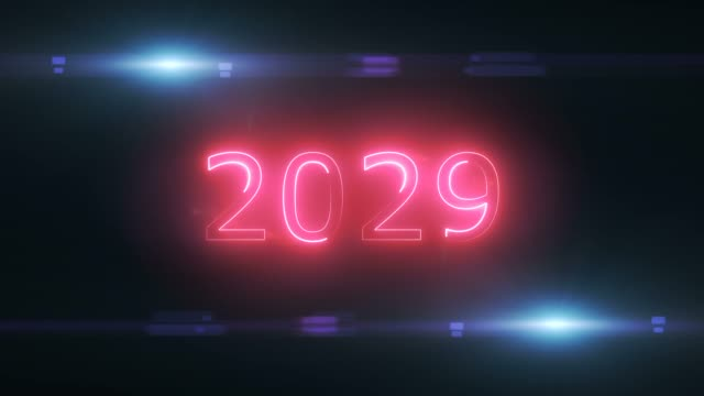 Abstract 2029 Year Loop Concept On Black Background 2029 Year, Calendar, Background, Abstract 2020 2029 stock videos & royalty-free footage