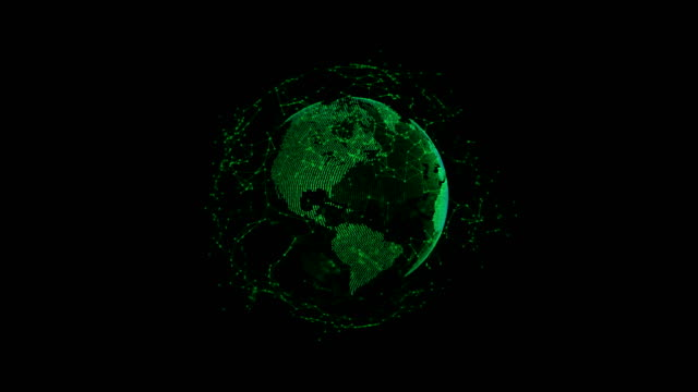abstract 3d globe spinning with futuristic data connection moving around - glass world video stock e b–roll