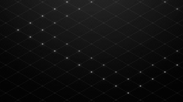stockvideo's en b-roll-footage met abstract 3d isometrische virtuele rimpel diamant vierkante met mesh patroon illustratie, blockchain technologie conceptontwerp op zwarte achtergrond, naadloze looping animatie 4k - isometric