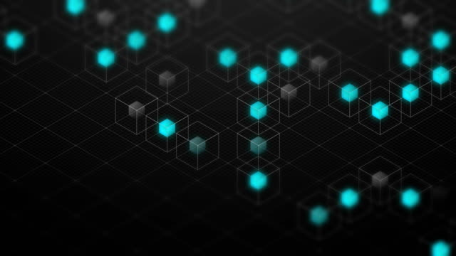 stockvideo's en b-roll-footage met abstracte 3d isometrische virtuele draadframe kubus vak en blauw kern met vierkante mazen patroon illustratie, blockchain technologie conceptontwerp op zwarte achtergrond, naadloze looping animatie 4k - isometric