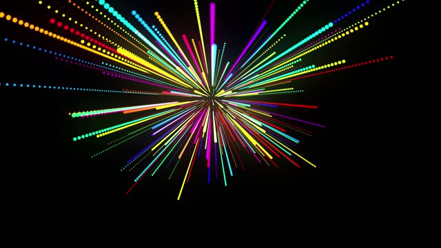 abstract 3d loop background with glowing particles lined up in a row in 3d space. Festive vj loop with multicolored particles and smooth animated camera. Motion design background. video