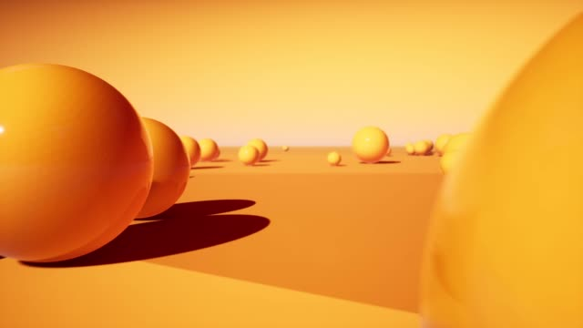 abstract 3d orange plastic balls footage. moving in side direction through static glossy spheres rendering decorative animated background. bright geometric shapes in different sizes 4k video - balance graphics video stock e b–roll