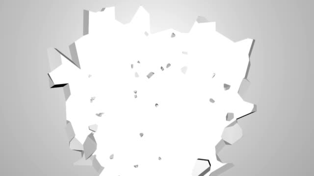 Abstract 3d render of cracked wall, destruction, explosion broken white wall with hole, computer generated backdrop video