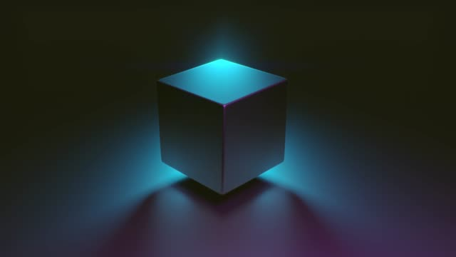 Abstract 3D render of retro morphing geometric cube. Modern colorful fluorescence ultraviolet Lightning background. Glowing and rotating in blue pink purple spectrum with illumination, 4k animation. video