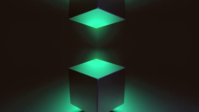 Abstract 3D render of retro spinning geometric cube. Modern colorful fluorescence ultraviolet Lightning background. Glowing and rotating in blue pink purple spectrum with illumination, 4k Animation. video