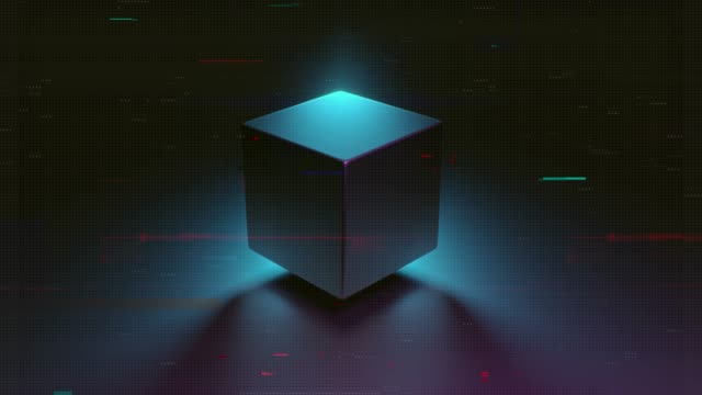Abstract 3D render of retro spinning geometric cube. Modern colorful fluorescence ultraviolet Lightning background. Glowing and rotating in blue pink purple spectrum with glitch, 4k animation. video