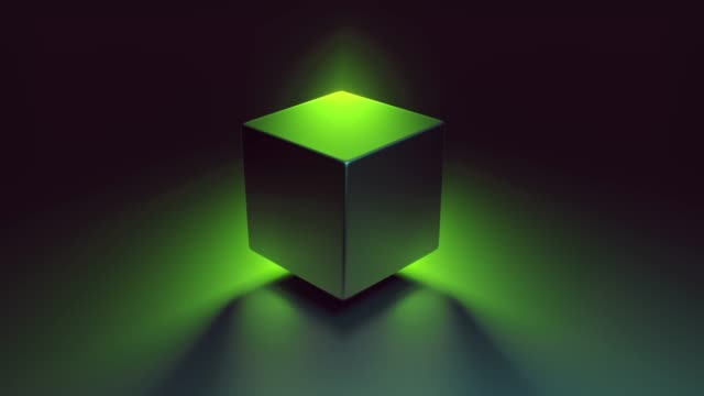 Abstract 3D render of retro spinning geometric cube. Modern colorful fluorescence ultraviolet Lightning background. Glowing and rotating in green purple spectrum with illumination, 4k animation. video