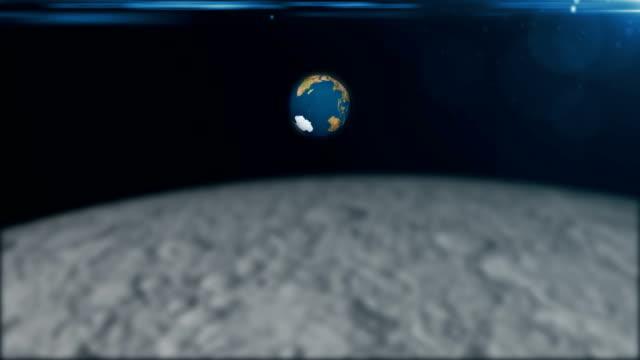 stockvideo's en b-roll-footage met abstract 3d rendering achtergrond met de draaiing van de aarde en flare. uitzicht vanaf de maan - sleeping illustration