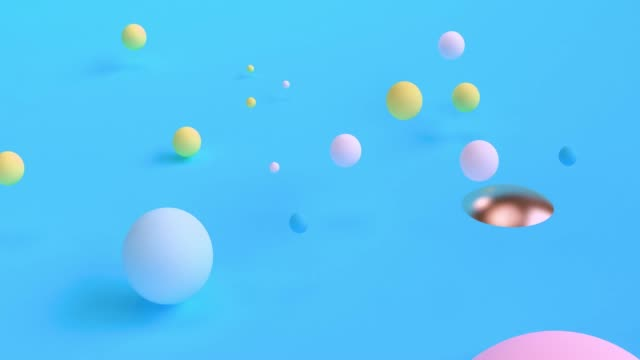 Abstract 3d rendering of looped animation with geometric shapes. Motion design, 4k UHD