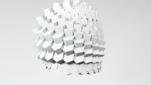 vídeos de stock e filmes b-roll de abstract 3d shapes hexagon sphere animation. 4k render loop footage. set of different pastel colors. - prisma