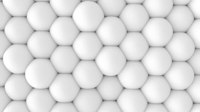 abstract 3d shapes soft white balls wall animation. 4k looping footage. - tridimensionale video stock e b–roll