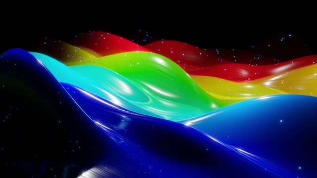 Abstract 3D surface with beautiful waves, luminous sparkles and bright color gradient, colors of rainbow. Waves run on very shiny, glossy surface with glow glitter. 4k looped animation video