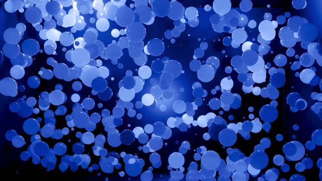 Abstract 4k background of spheres in shades of blue. Balls like leds hang in air and light up and go out. Bright stylish background video