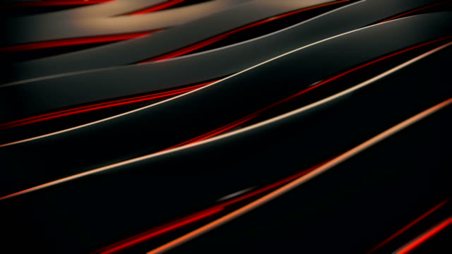 Abstract 4K background seamless loop of steel curves and texture with reflection of animated light and environment. Waving reflecting light. (Loopable)