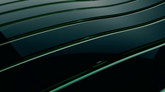 vídeos de stock e filmes b-roll de abstract 4k background seamless loop of steel curves and texture with reflection of animated light and environment. waving reflecting light. (loopable) - cromo metal