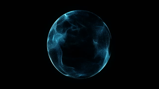 Abstract 4K Motion Background Explosion With Particles And Sphere.