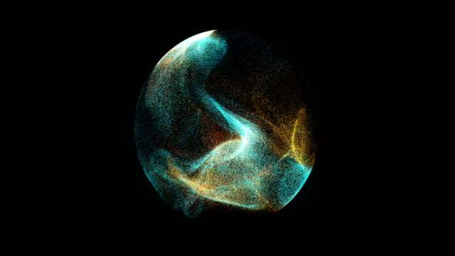 abstract 4k motion background explosion with particles and sphere. - atomo video stock e b–roll