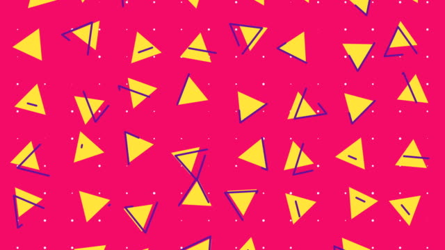 abstract 80s triangle background animation - sfondo multicolore video stock e b–roll